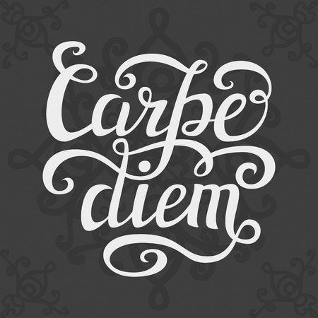 to seize: Hand lettering typography poster.Inspiratoinal quote Carpe diem latin translation: seize the day, capture the moment.For t-shirts, posters, calendars, cards. Vector illustration Illustration