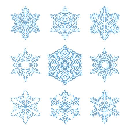 copo de nieve: Conjunto de los copos de nieve contorno aisladas en white.Perfect para design.Vector Navidad del ejemplo