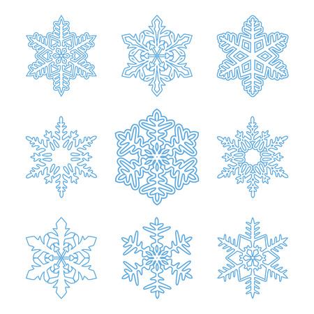 Set of outline snowflakes isolated on white.Perfect for Christmas design.Vector illustration Illustration