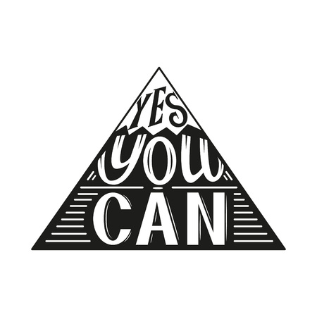can yes you can: Hand lettering typography poster.Inspirational quote Yes you can isolated on white.For posters, cards,t-shirts, home decorations.Vector illustration. Illustration