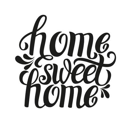 Mano letras tipografía cotización poster.Calligraphic 'Home sweet housewarming home'.For carteles, tarjetas de felicitación, ilustración decorations.Vector casa. Foto de archivo - 47789922