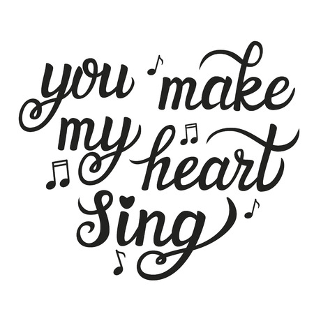 valentine musical note: Hand lettering typography poster.