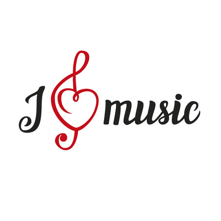 i t: Hand lettering typography poster.Calligraphic script with the heart in the form of a treble clef.Romantic quote I love music isolated on white.For posters, cards, home decorations, t shirt design.Vector illustration.
