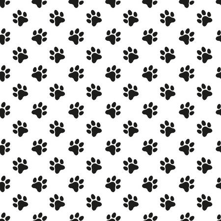 foot print: Paw print seamless pattern. Pet vector background.