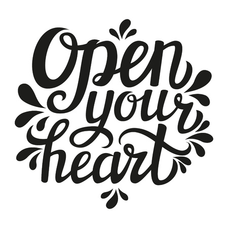 open your heart: lettering typography poster.Inspirational romantic quote Open your heart isolated on white background. Modern  calligraphy. For Valentine Day posters, cards, t shirt design. illustration Illustration