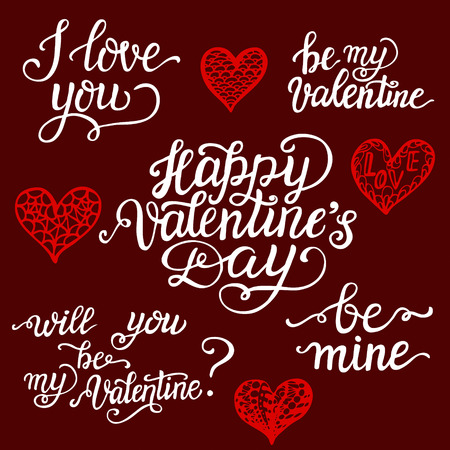 valentine day lettering set. romantic quotes i love you, happy, Ideas