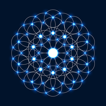 Abstract circle geometrical light mandala. Sacred geometry.Sparkle Flower of Life.