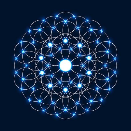 star of life: Abstract circle geometrical light mandala. Sacred geometry.Sparkle Flower of Life.