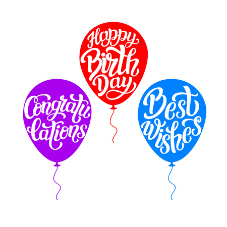 best wishes: Happy Birthday, congratulations, best wishes. Hand lettering typography templates with air balloon silhouettes isolated on white background. For posters, greeting cards, prints, balloons, party decorations. Vector Illustration