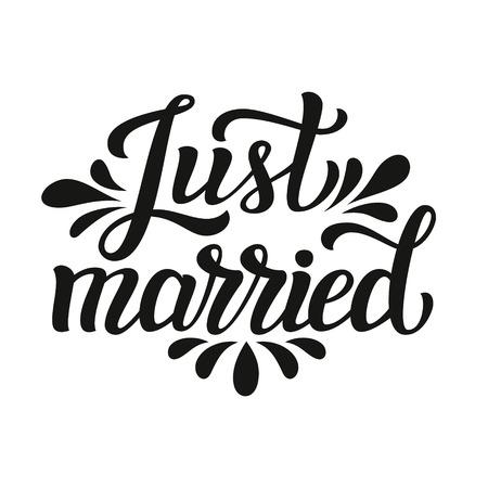 Net getrouwd. Hand belettering typografie tekst. Romantische offerte. Voor huwelijk, familie of home design, posters, kaarten, uitnodigingen, banners, t-shirts, labels.