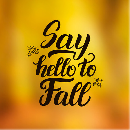 caligraphy: Say hello to fall. Hand lettering typography inspirational poster.Ink brush caligraphy on blurred background. For different autumn design, posters, prints, cards, t shirts. Vector illustration Illustration