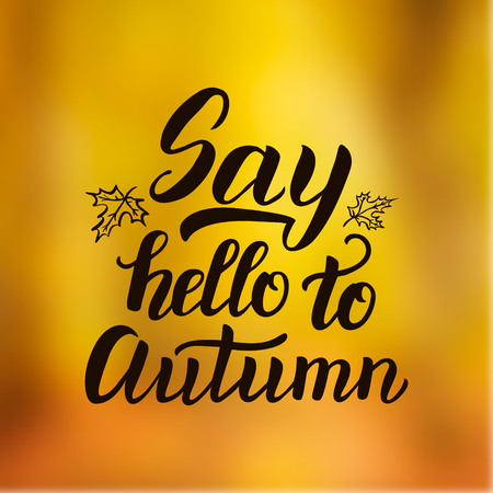 caligraphy: Say hello to autumn. Hand lettering typography seasonal poster.Ink brush caligraphy on blurred background. For different autumn design, posters, prints, cards, t shirts. Vector illustration