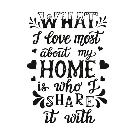 Hand lettering typography poster. Calligraphic quote What I love most about my home is who I share it with.For housewarming posters, cards, home decorations.Vector Illustration
