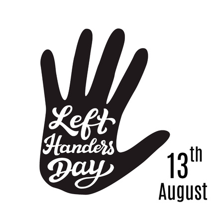 Left Handers Day. Hand drawn typography lettering text with palm print. Illustration