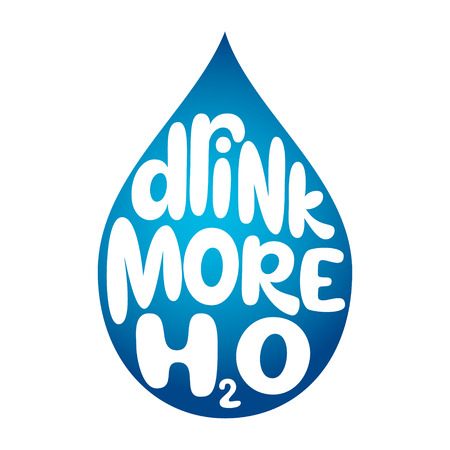 Drink more water. Hand drawn typography slogan on waterdrop silhouette. Vector calligraphy for posters, cards, t shirts, banners, labels, flyers Illusztráció