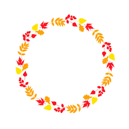 Vector frame with fall leaves. Vector seasonal texture for cards, posters, home decorations etc Vectores