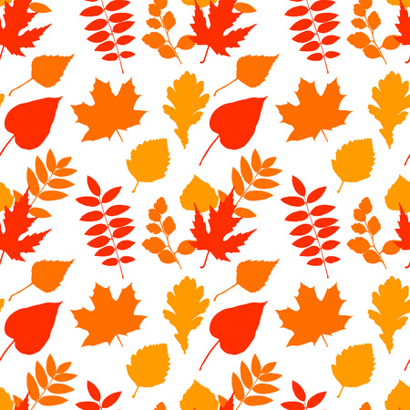 Seamless pattern with fall leaves. Vector seasonal texture for backgrounds, wrapping paper, cards, posters, home decorations, fabric, t shirts etc