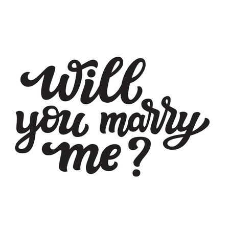 Will you marry me. Hand drawn lettering typography for wedding decorations, cards, posters, t shirts, Valentines day. Vector calligraphic text Ilustrace