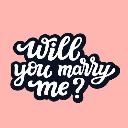 Wil je met me trouwen. Handgetekende belettering typografie voor bruiloft decoraties, kaarten, posters, t-shirts, Valentijnsdag. Vector kalligrafische tekst