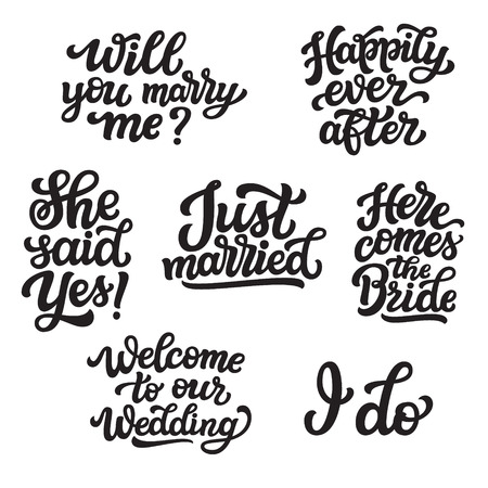 Set of hand drawn lettering quotes. Vector typography for wedding decorations, posters, invitations, cards, banners, Valentines day, t shirts Ilustrace