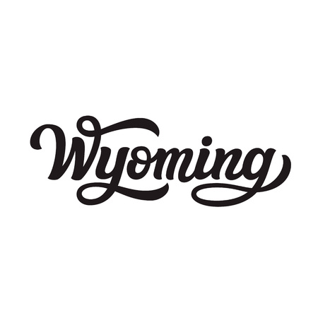 Wyoming. Hand drawn US state name isolated on white background. Modern calligraphy for posters, cards, t shirts, souvenirs, stickers. Vector lettering typography