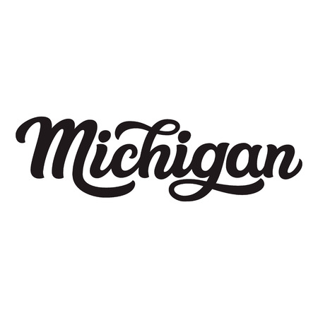 Michigan. Hand drawn US state name isolated on white background. Modern calligraphy for posters, cards, t shirts, souvenirs, stickers. Vector lettering typography
