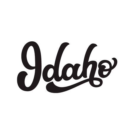 Idaho. Hand drawn US state name isolated on white background. Modern calligraphy for posters, cards, t shirts, souvenirs, stickers. Vector lettering typography  イラスト・ベクター素材