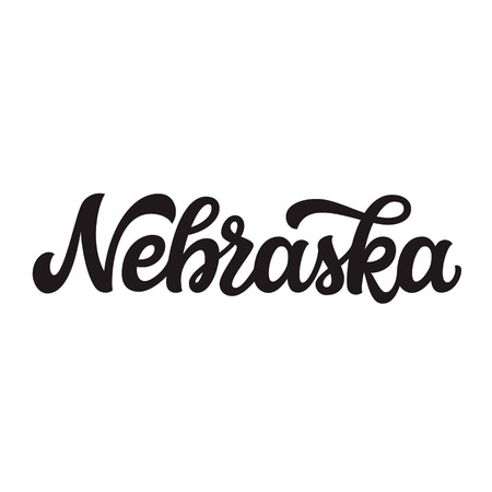 Nebraska. Hand drawn US state name isolated on white background. Modern calligraphy for posters, cards, t shirts, souvenirs, stickers. Vector lettering typography