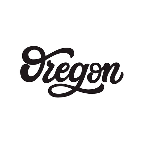 Oregon. Hand drawn US state name isolated on white background. Modern calligraphy for posters, cards, t shirts, souvenirs, stickers. Vector lettering typography 矢量图像