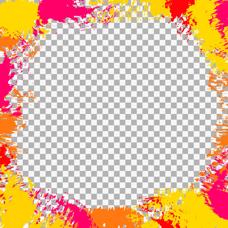 Abstract frame with paint splashes, brush strokes, ink splats, spots, scribbles on a transparent background. Vector colorful grunge texture for cards, wallpaper, posters, adds, banners Çizim