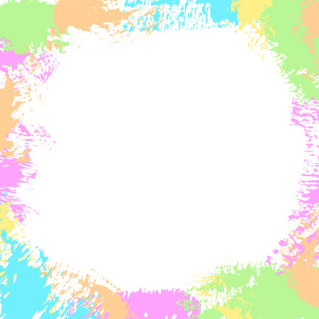 Abstract frame with paint splashes, brush strokes, ink splats, spots, scribbles on white background. Vector colorful grunge texture for cards, wallpaper, posters, adds, banners