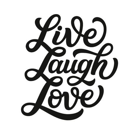 Lebe lache Liebe. Handschrift inspirierendes Zitat. Vektortypografie für Poster, Karten, Wohnkultur, Taschen, Kissen, Wandaufkleber. Moderne Kalligraphie