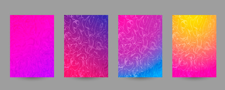 Set of abstract marbled A4 size templates. Colorful fluid background for posters, banners, flyers, phone covers, web, ads, invitations, cards. Vector texture