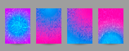 Set of abstract marbled A4 size templates. Pink and blue fluid background for posters, banners, flyers, phone or book covers, web, ads, invitations, cards. Trendy neon vector texture Stock Illustratie