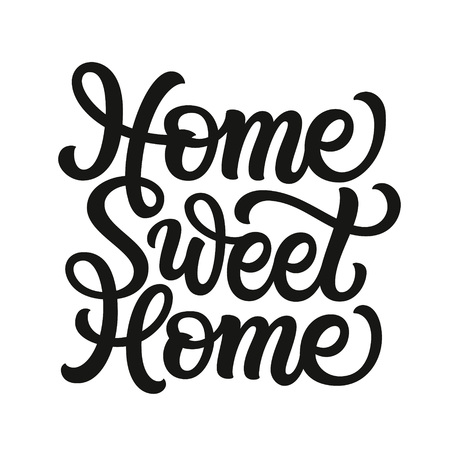 Home sweet home. Hand drawn inscription for posters, cards, home decor, housewarming, pillows, bags. Vector typography Ilustrace