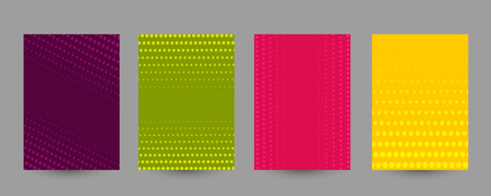 Set of abstract halftone A4 size templates. Colorful geometric background for posters, banners, flyers, phone covers, web, ads, invitations, cards. Vector texture Ilustrace