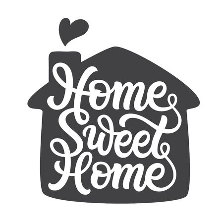 Home sweet home. Hand lettering quote with a silhouette of a house for posters, cards, home decor, housewarming, pillows, bags. Vector script typography Иллюстрация