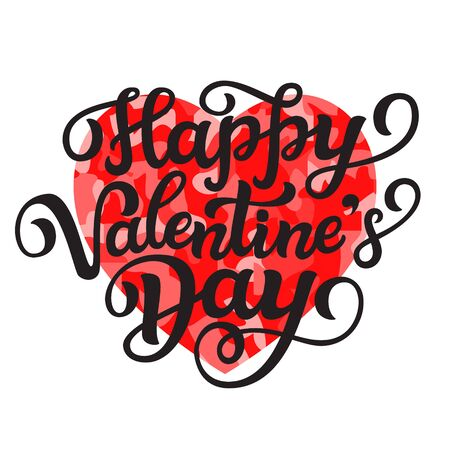 Happy Valentine's Day. Hand drawn lettering text with red heart and black frame isolated on white background. Vector typography for posters, cards, banners, labels, Valentine day party decorations Standard-Bild - 139667673