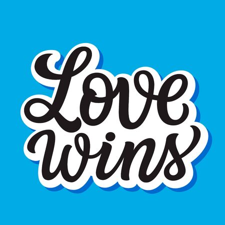 Love wins. Hand lettering inspirational quote on blue background. Vector typography for posters, stickers, cards, social media  イラスト・ベクター素材
