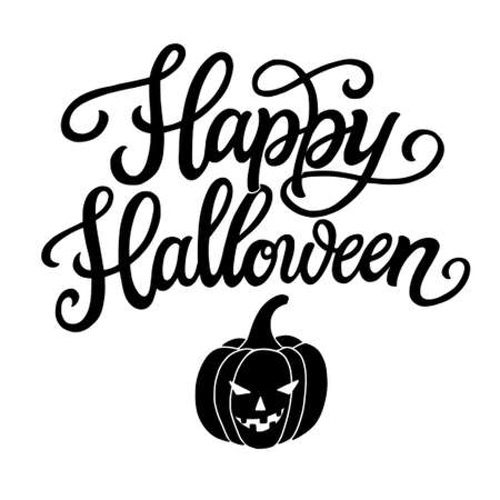 Happy Halloween. Hand lettering black text isolated on white background. typography for Halloween party decorations, t shirts, posters, banners, cards, stickers