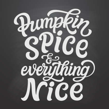 Pumpkin spice and everything nice. Hand lettering quote on chalkboard background. Vector typography for posters, greeting cards, restaurants, cafe decorations