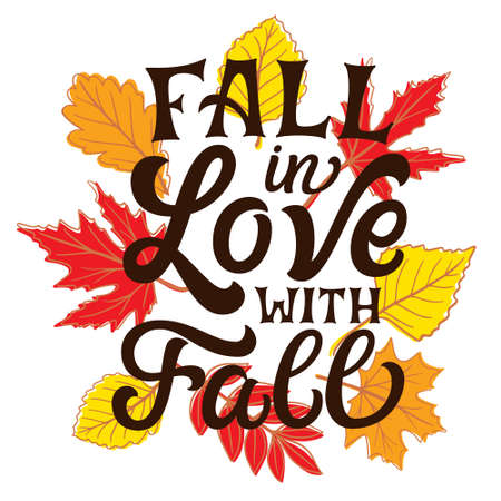 Love fall most of all. Hand lettering quote with fall leaves on white background. Vector typography for posters, banners, greeting cards 矢量图像