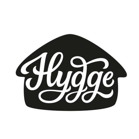 Hygge. Hand lettering word in a house shape isolated on white background. Vector typography for home decorations, clothes, posters, cards, labels