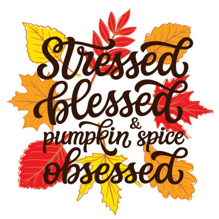 Stressed, blessed and pumpkin spice obsessed. Hand lettering quote with fall leaves on white background. Vector typography for posters, banners, greeting cards, t shirts, clothes