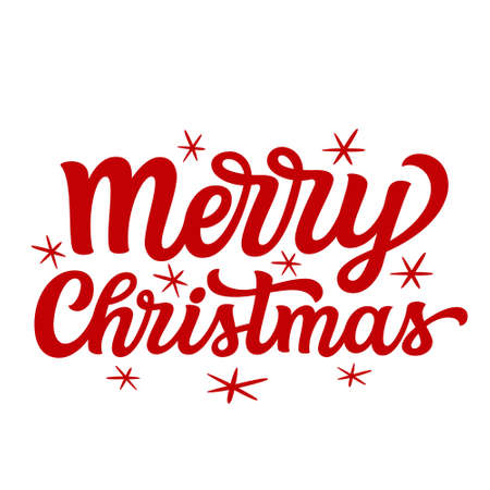 Merry Christmas. Hand lettering Christmas quote. Red text isolated on white background. Vector typography for greeting cards, posters, party , home decorations, wall decals, banners