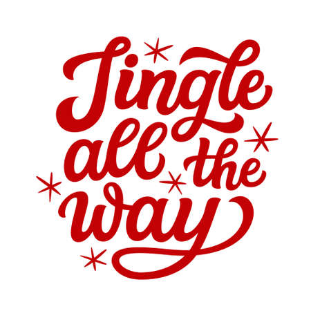 Jingle all the way. Hand lettering Christmas quote. Red text isolated on white background. Vector typography for greeting cards, posters, party , home decorations, wall decals, banners
