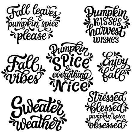 Set of hand drawn fall quotes isolated on white background. Autumn vector typography for posters, mugs, t shirts, home decor
