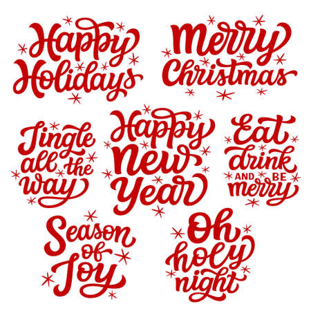 Set of hand lettering Christmas quotes isolated on white background. Vector typography for greeting cards, posters, party , home decorations, wall decals, banners