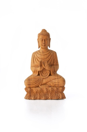 buddah:  Wooden Buddha on Lotus, Dharmacakra Mudra - Front