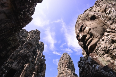 thom: Bayon, at Angkor Thom, Siem Reap, Cambodia.